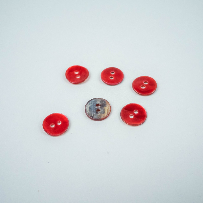 Bouton nacre - 11mm - rouge